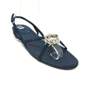 Gucci GG Slingback Sandals Shoes Size 5 Blue Gold